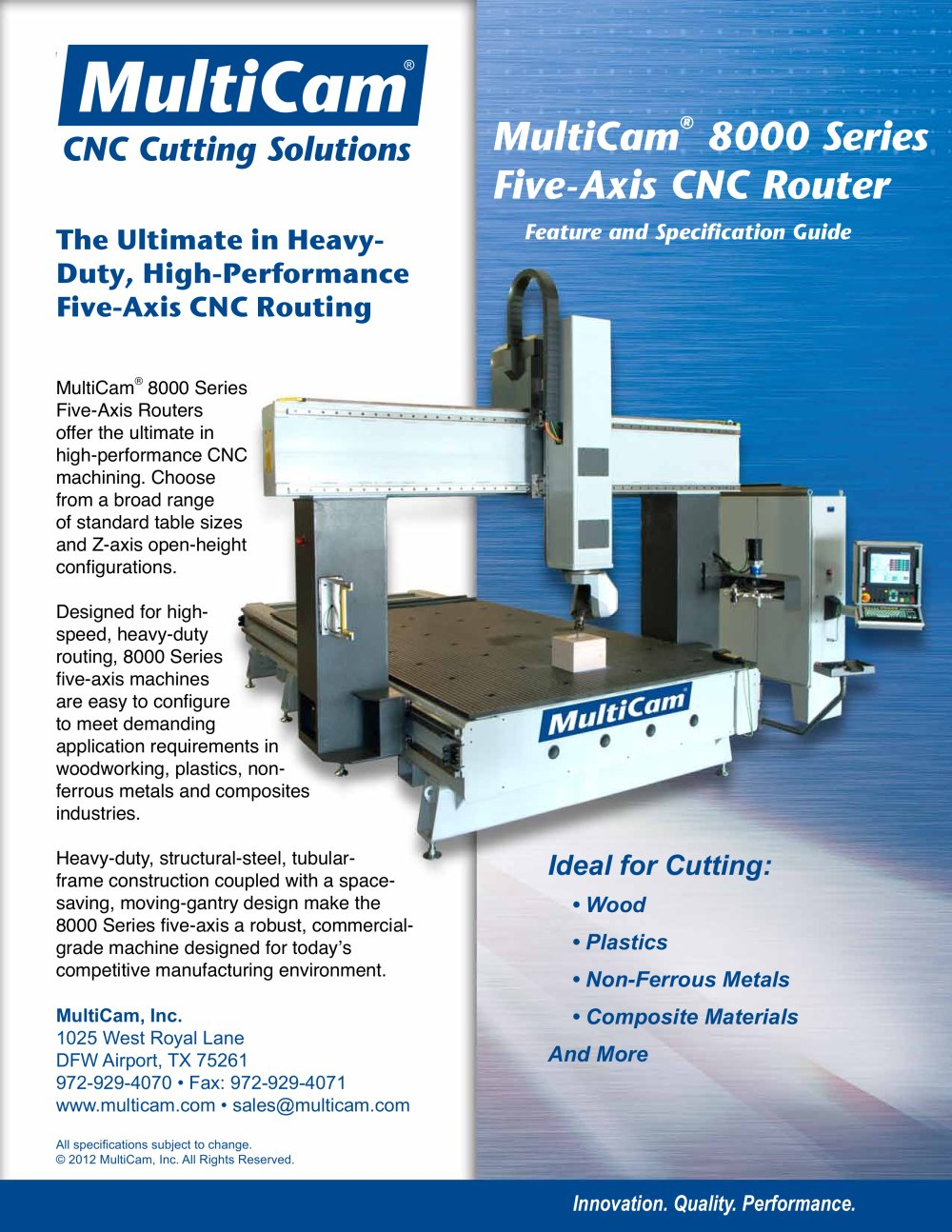 Multicam 8000 Series Five Axis Cnc Router 1 8 Pages