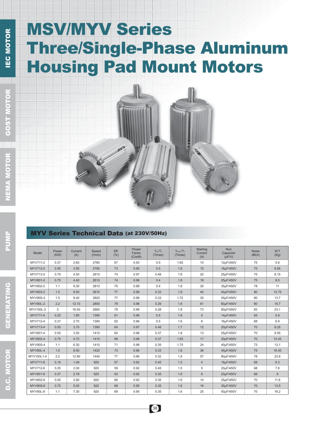 MSV-MYV Series 3-1-Phase Aluminum Pad Mount Motors - 1 / 4 Pages