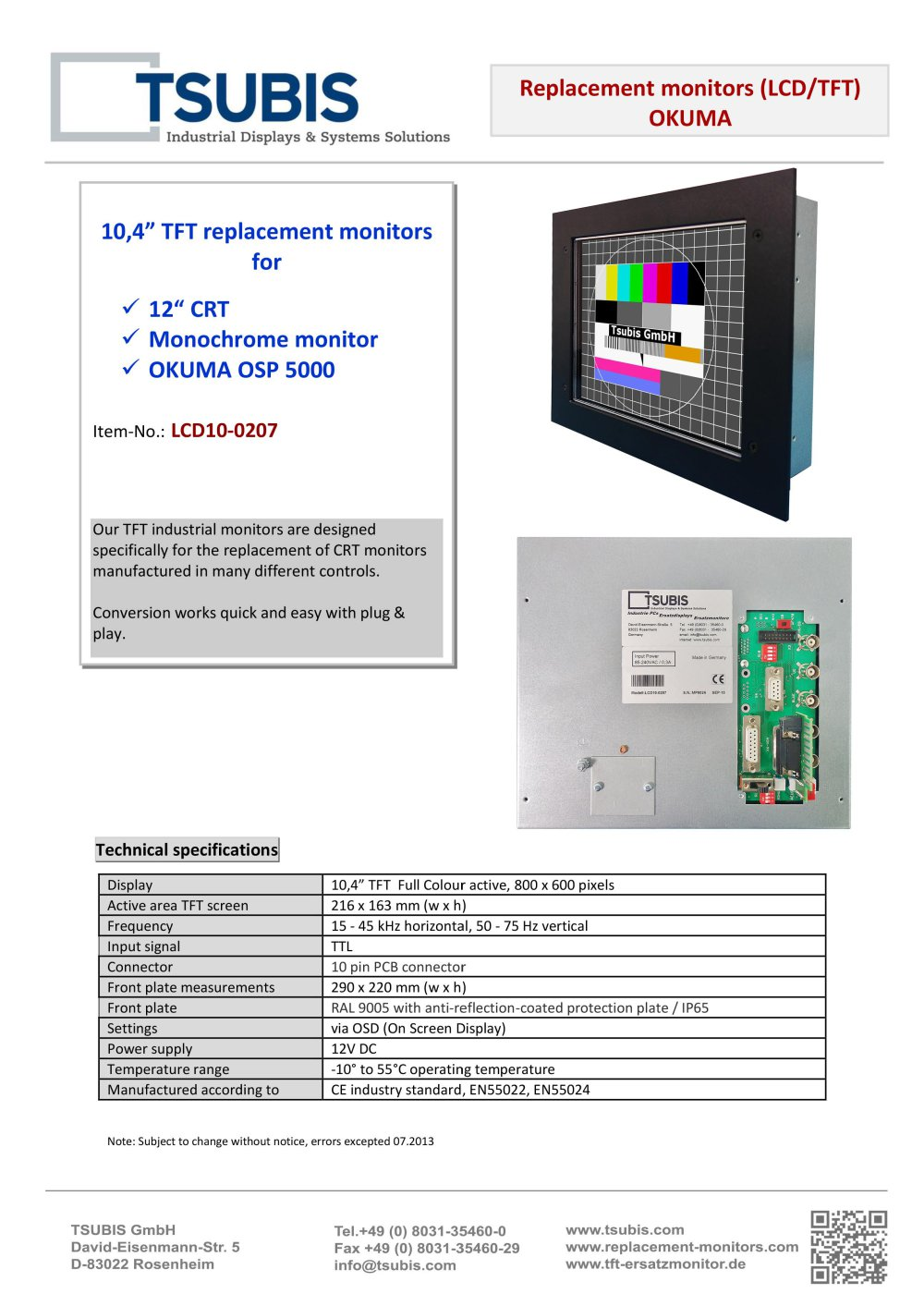 Okuma Osp 5000l Tsubis Pdf Catalogue Technical Documentation Power Supply Monitor For Ttl 1 Pages