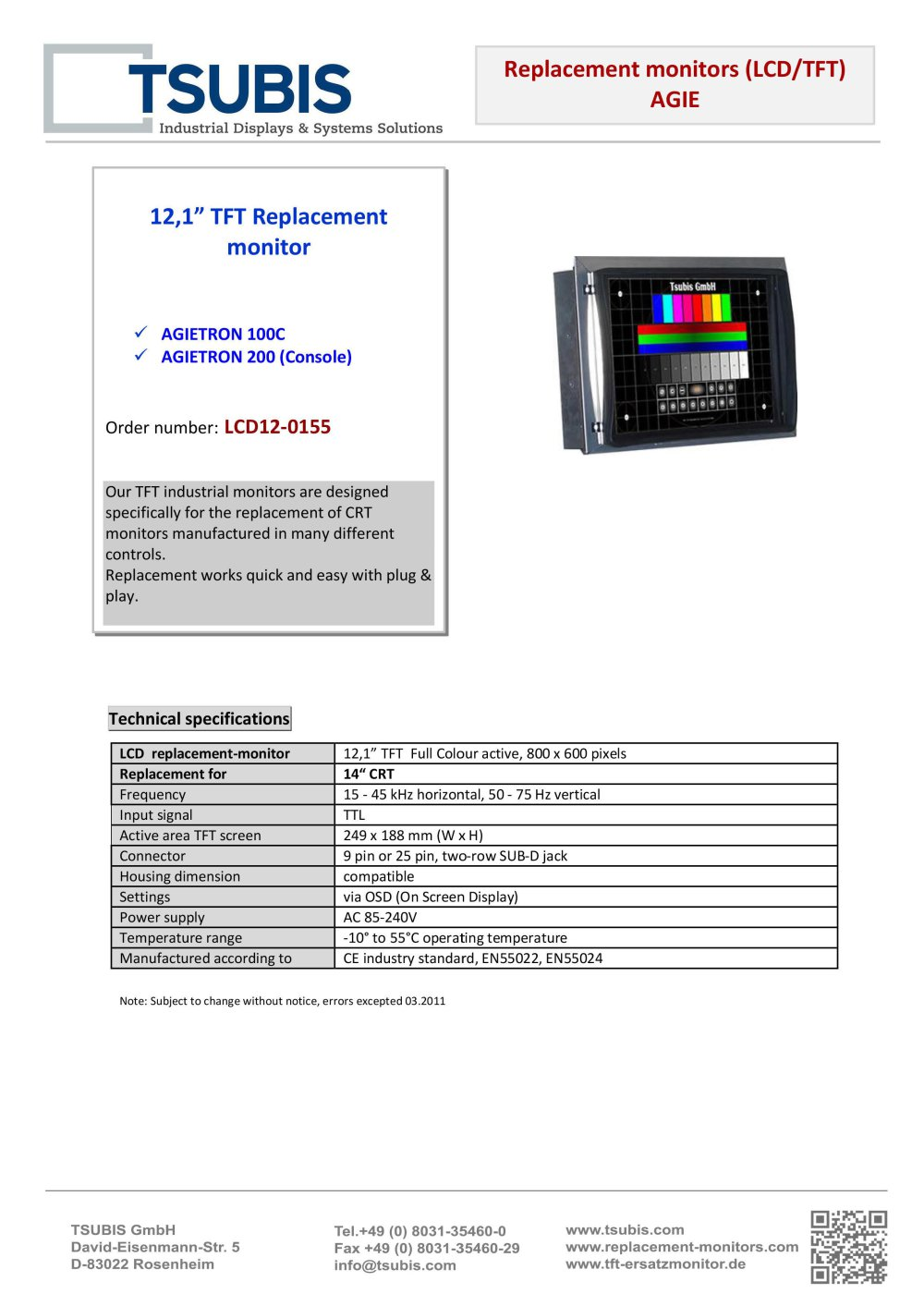 Replacement Monitor For Agietron 100 And 200 Tsubis Pdf Power Supply Ttl 1 Pages