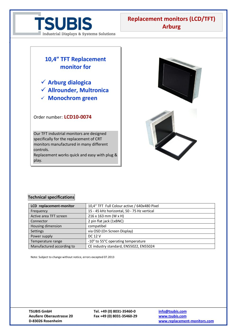 Replacement Monitor For Arburga Dialogic Tsubis Pdf Catalogue Crt Diagram 1 Pages