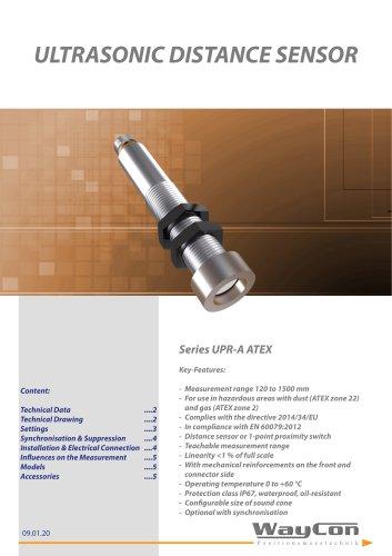 Ultrasonic Sensors UPR-A ATEX - WayCon Positionsmesstechnik GmbH