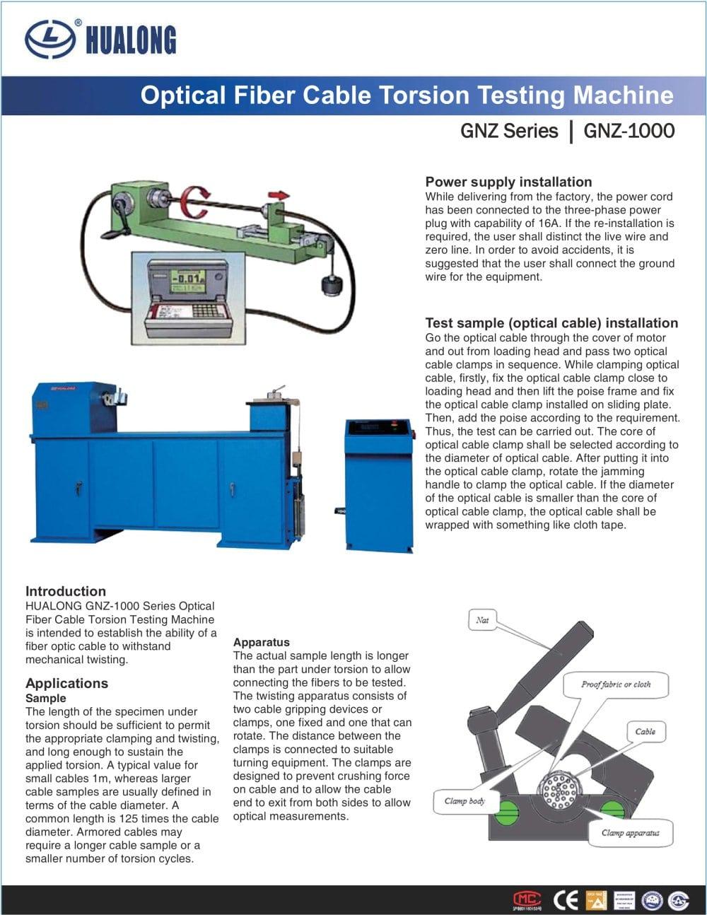 HUALONG|Torsion Testing Machine|GNZ-1000|Optical Fiber Cable ...