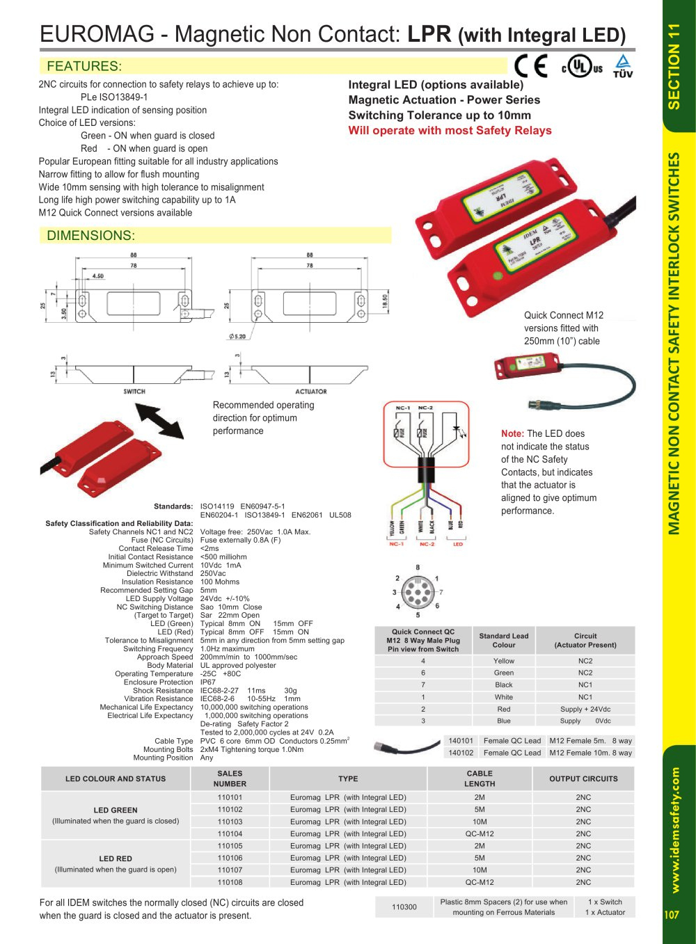 Lpr With Integral Led Idem Safety Switches Pdf Catalogue Circuit Closed Until The Limit Switch Opens Relay Is 1 Pages
