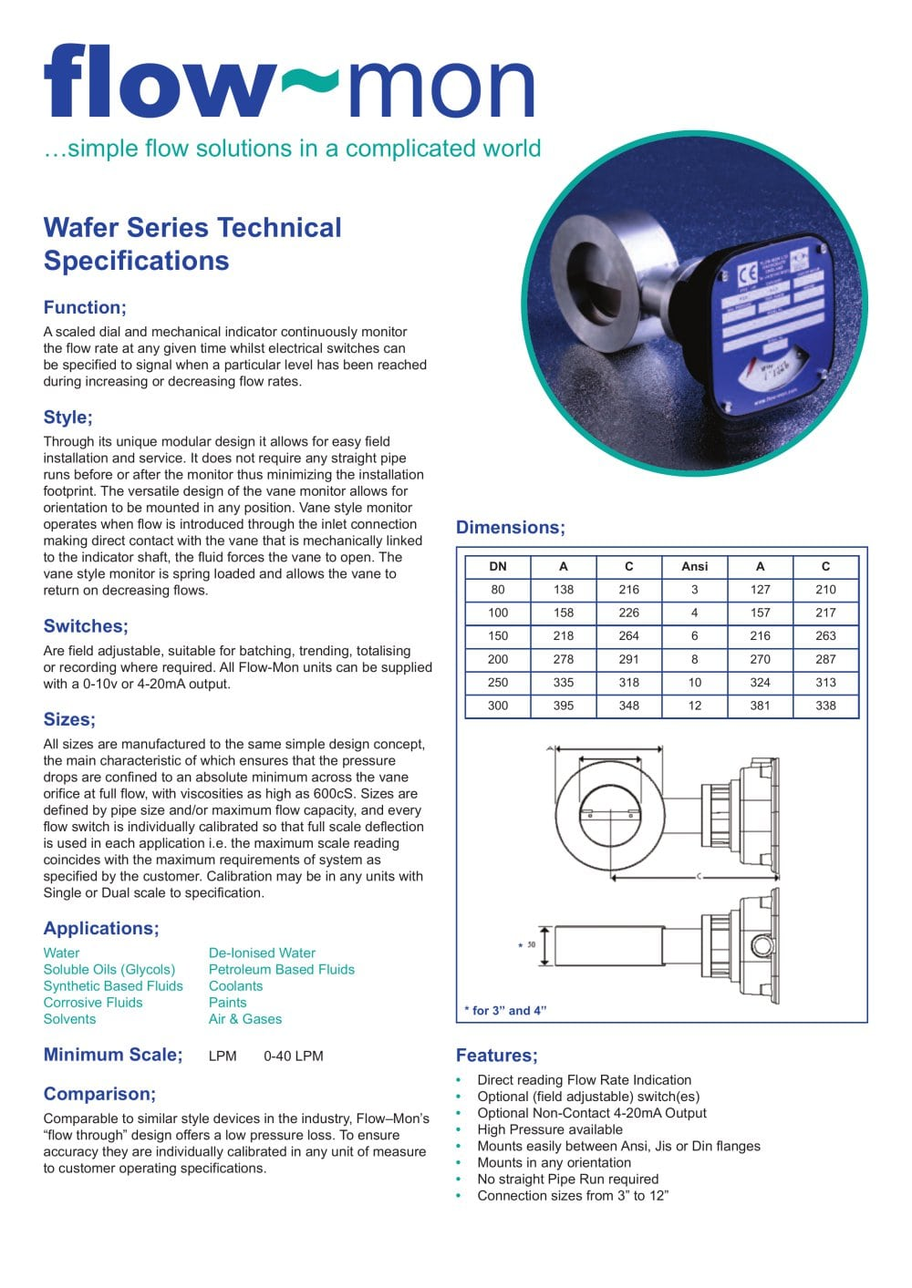 Wafer Series Flow Mon Pdf Catalogue Technical Documentation Air Switch Wiring Diagram Fld 1 4 Pages