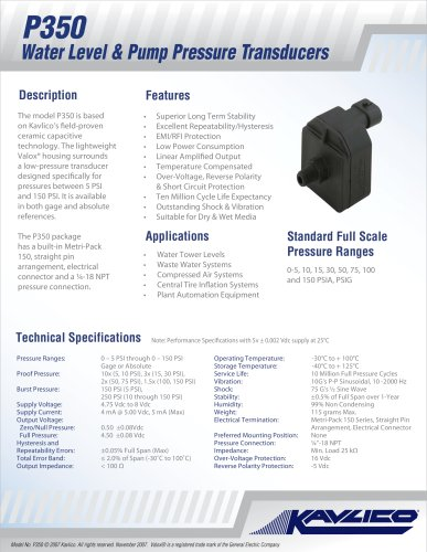 Kavlico P350 Water Level & Pump Pressure Transducer Data Sheet