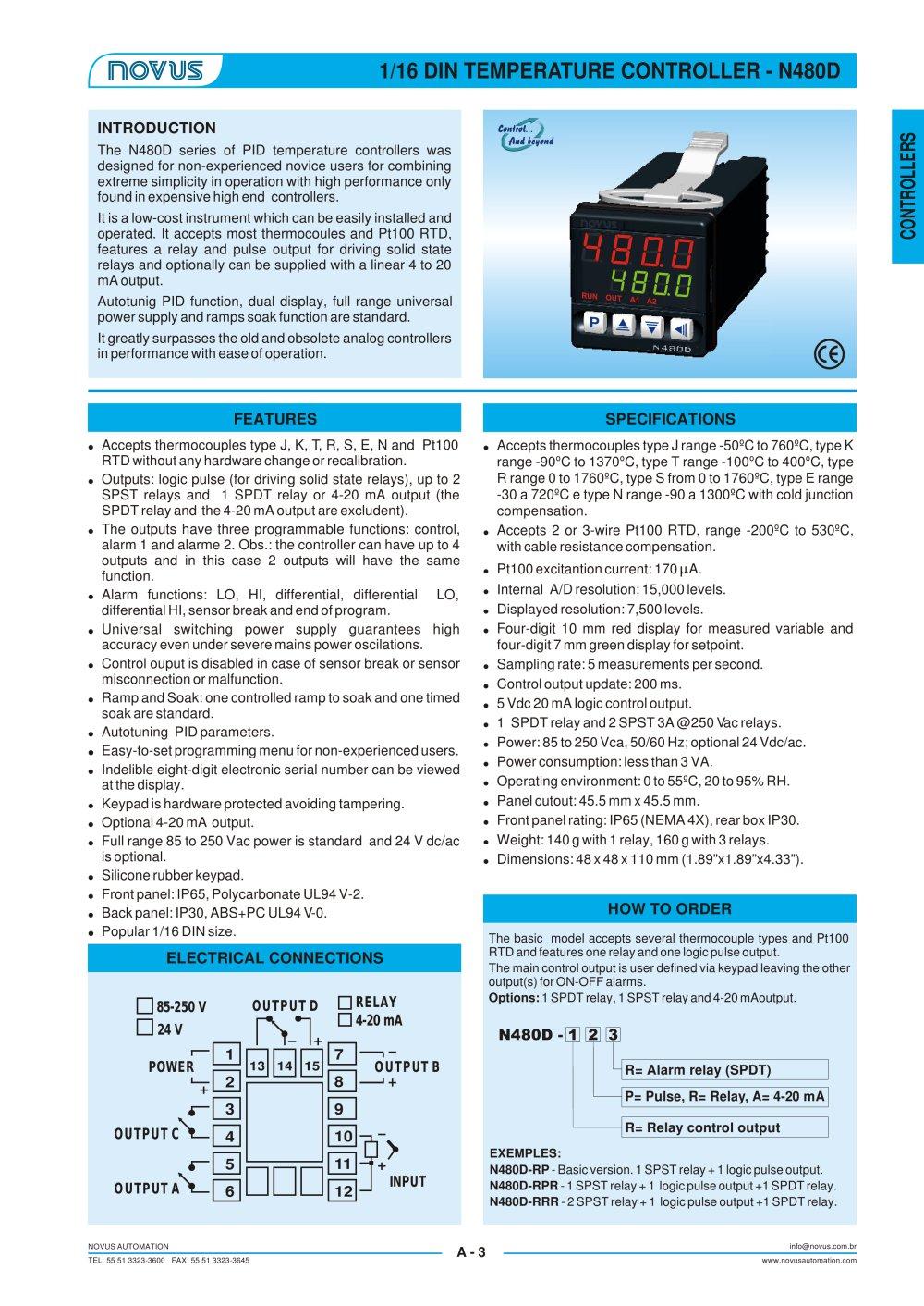 N 480 Novus Automation Inc Pdf Catalogue Technical Dpdt Relay Datasheet 1 Pages