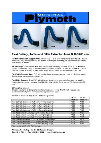 Flexi Ceiling-, Table- and Filter Extractor Arms D.160/200 mm
