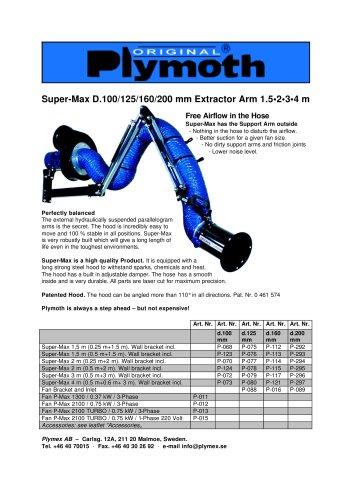 Super-Max D.100/125/160/200 mm Extractor Arm 1.5•2•3•4 m