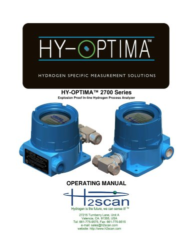 HY-OPTIMA 2700 Series Explosion Proof In-line Hydrogen Process Analyzer