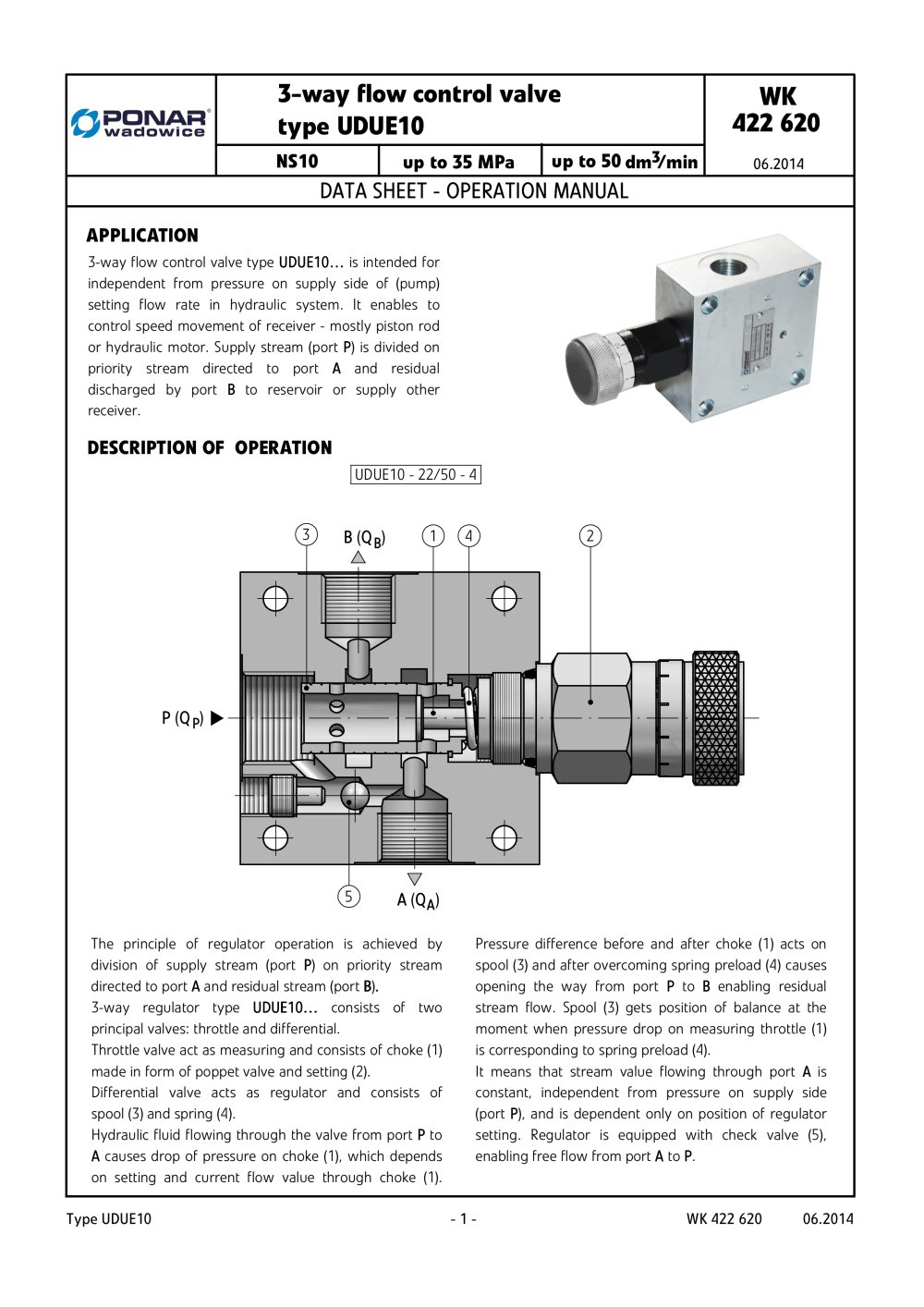 3 way flow control valve type udue10 ponar s a pdf catalogs Electric Hydraulic Flow Control Valve 3 way flow control valve type udue10 1 6 pages
