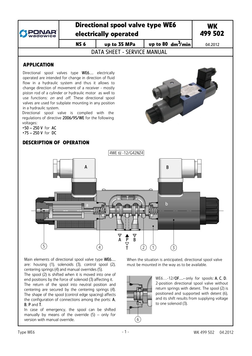 Directional Spool Valve Type We6 Ponar Sa Pdf Catalogue