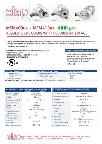 Absolute multiturn encoder MEM40Bus CANopen - ELAP - PDF