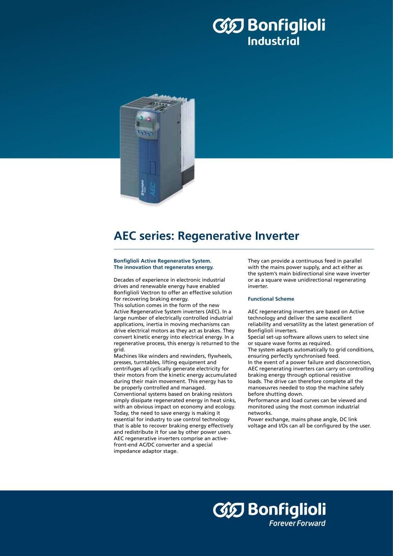 aec series regenerative inverter bonfiglioli pdf catalogue capacitor motor wiring diagrams aec series regenerative inverter 1 2 pages
