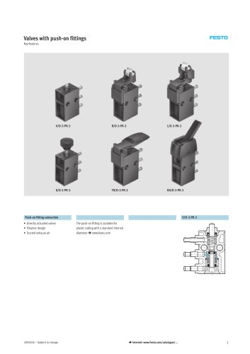 valves push on fittings festo pdf catalogue technical valves push on fittings