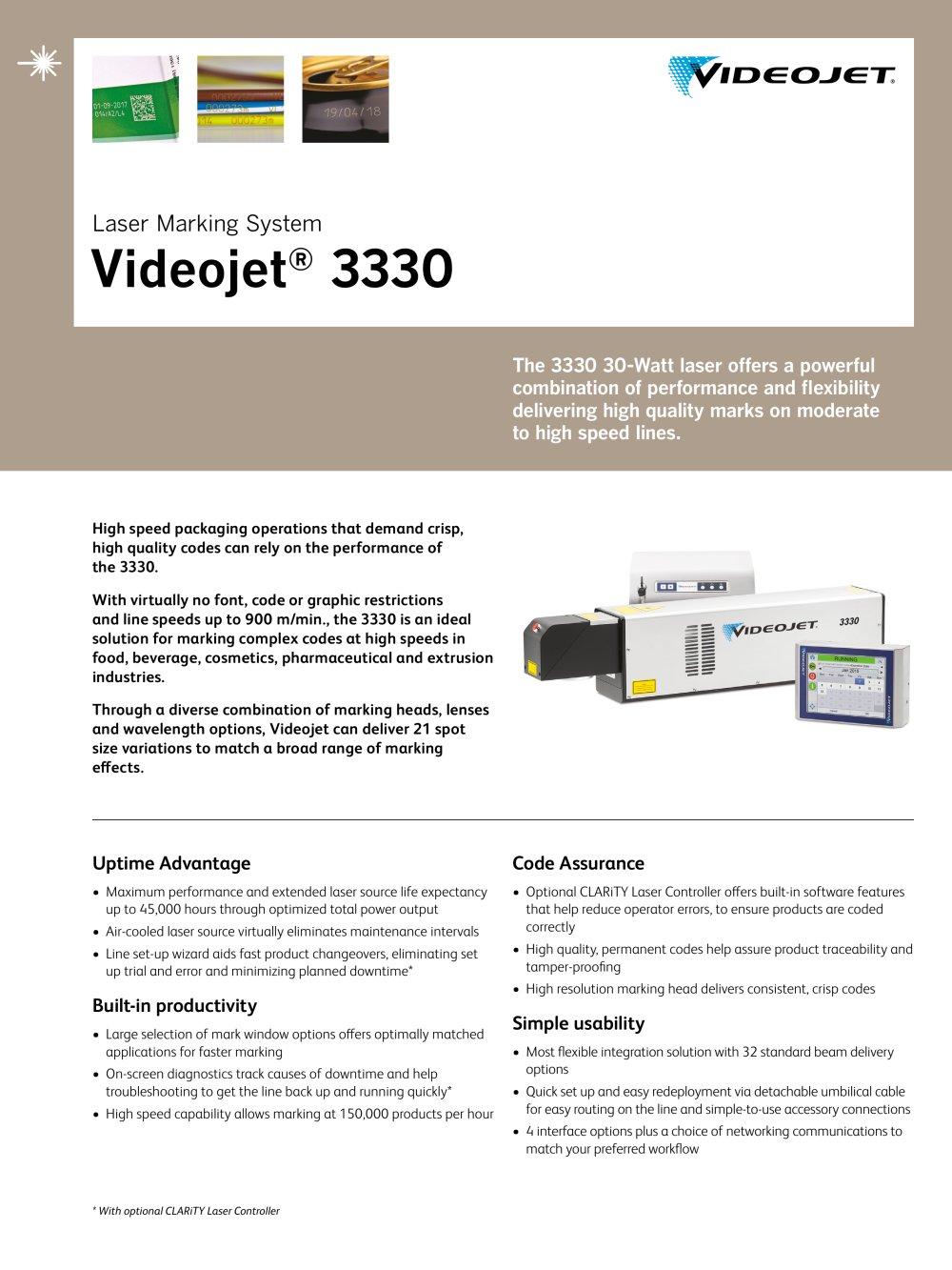 Laser Marking System Videojet ® 3330 - 1 / 2 Pages