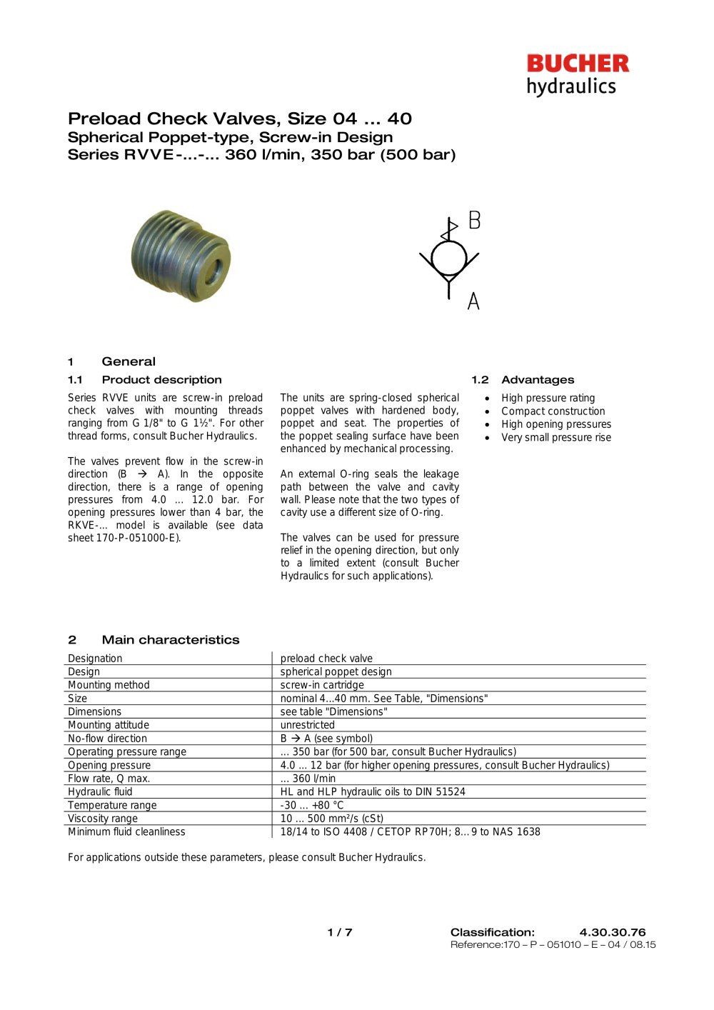 Preload Check Valves Size 04 40 Bucher Hydraulics Pdf
