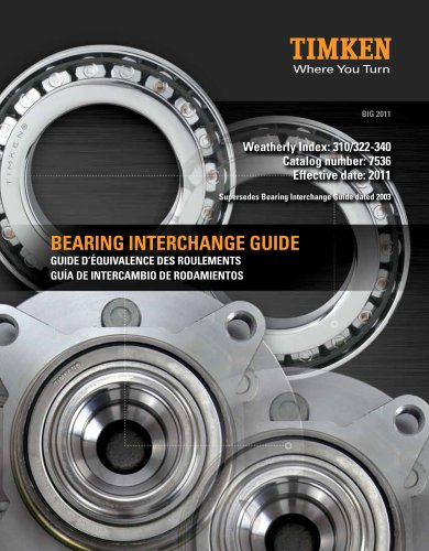 Automotive Aftermarket Bearing Interchange Guide