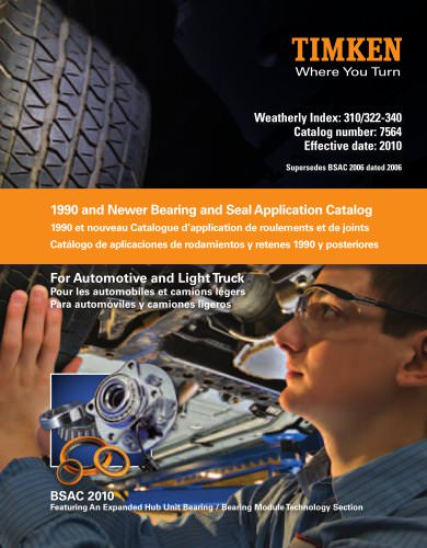 Automotive Aftermarket Bearing and Seal Application Catalog