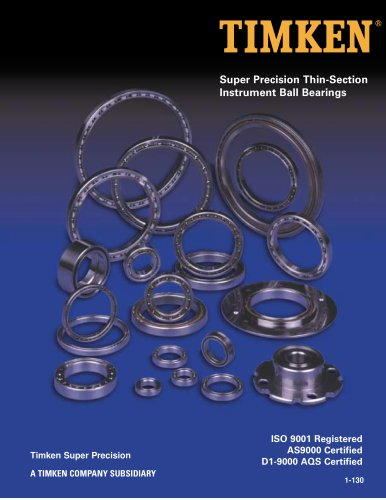 Super Precision Thin-Section Instrument Ball Bearings Catalog