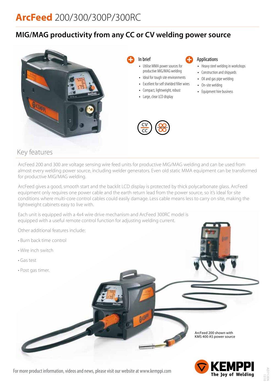 ArcFeed 200/300/300P/300RC - KEMPPI - PDF Catalogue | Technical ...
