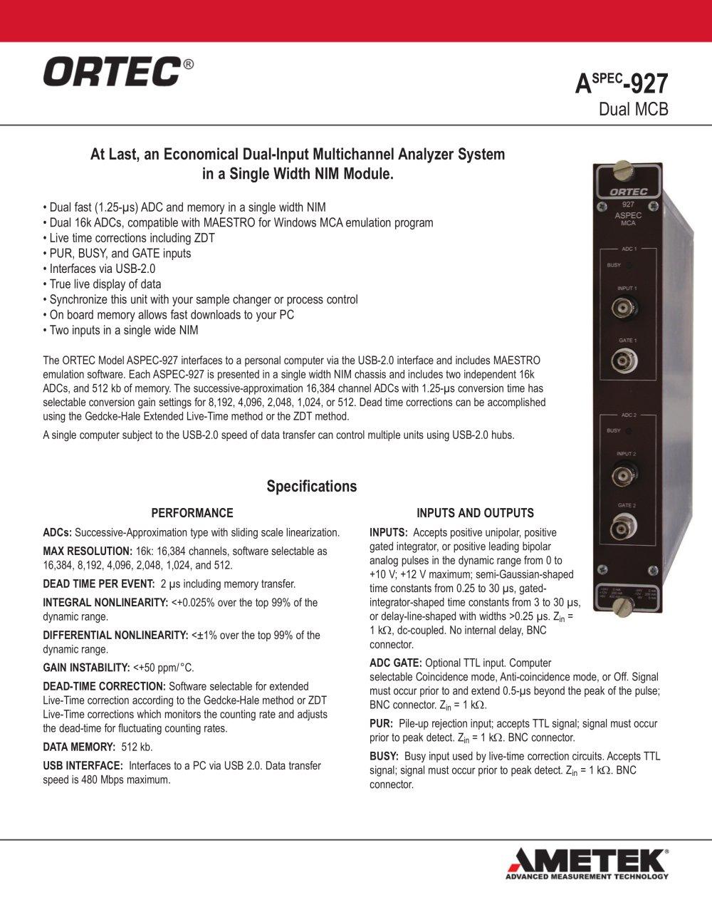 Aspec 927 dual mcb ortec pdf catalogue technical aspec 927 dual mcb 1 2 pages nvjuhfo Gallery