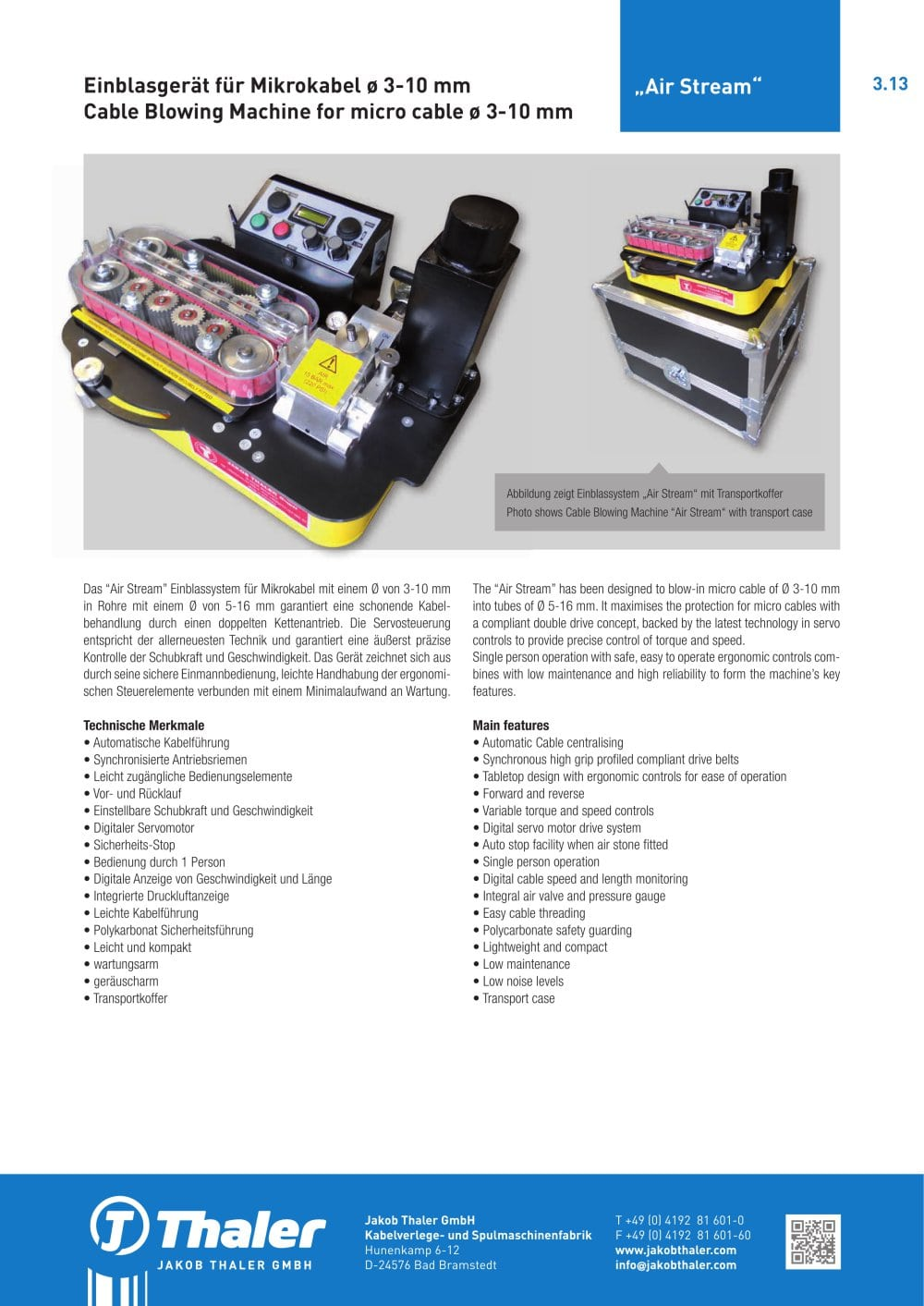 Air Stream Blowing Machine for micro cable - Jakob Thaler GmbH - PDF ...