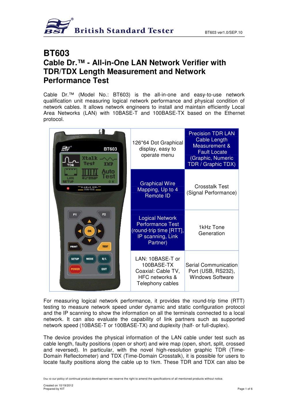 BT603-LAN Cable / Wire Tester - BST Caltek Industrial Ltd - PDF ...
