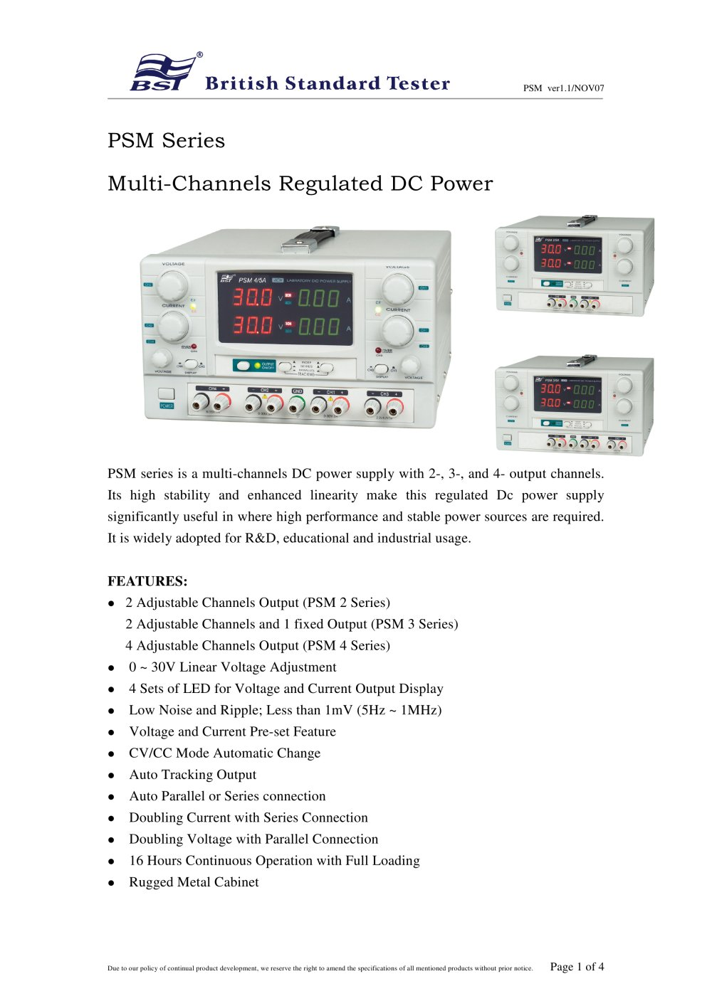 Dc Power Supply Psm A Series Bst Caltek Industrial Ltd Pdf Variable Voltage And Current 1 4 Pages