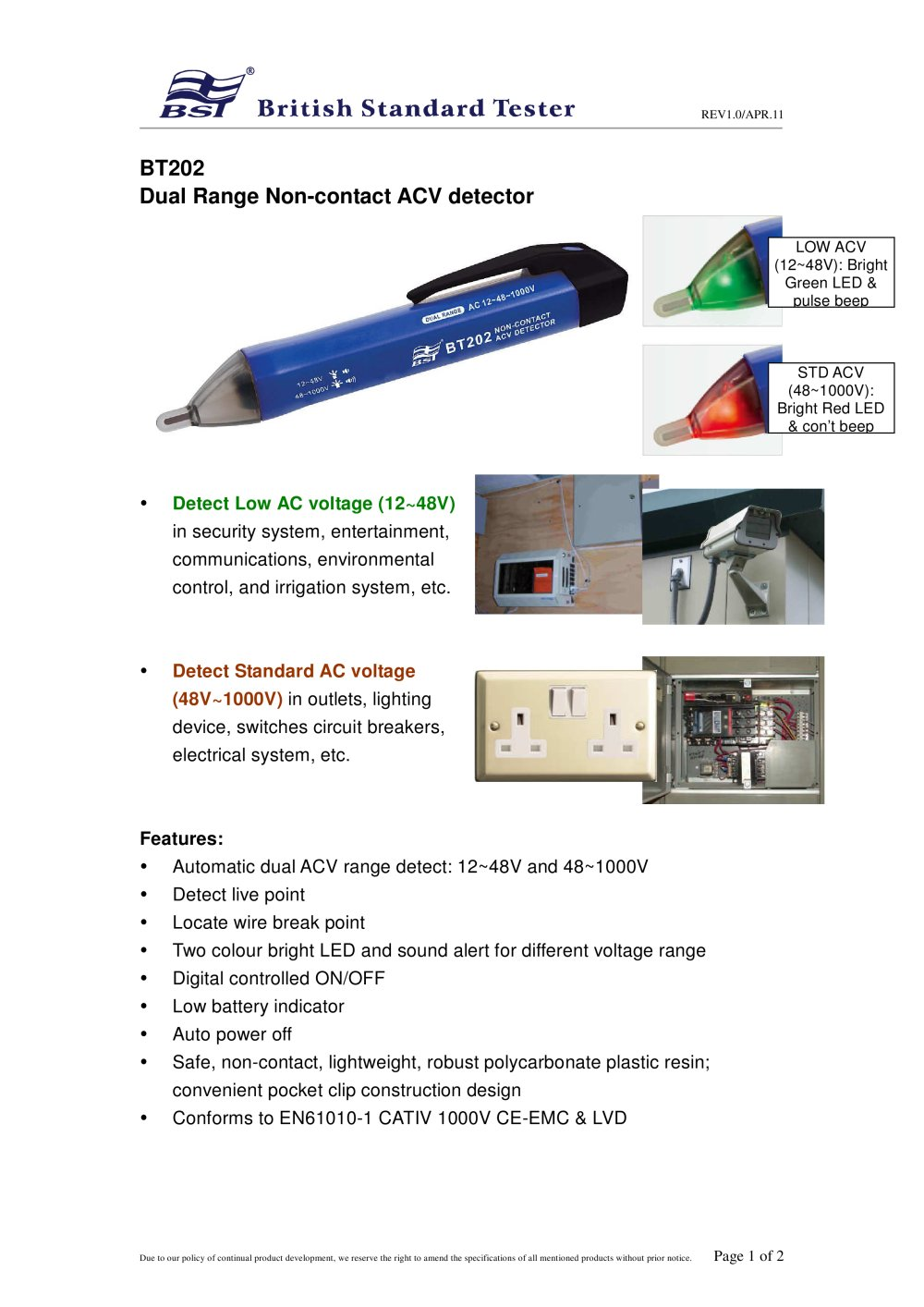 Dual Range Acv Detector Bst Caltek Industrial Ltd Pdf Catalogue Low Battery Indicator Circuit 1 2 Pages