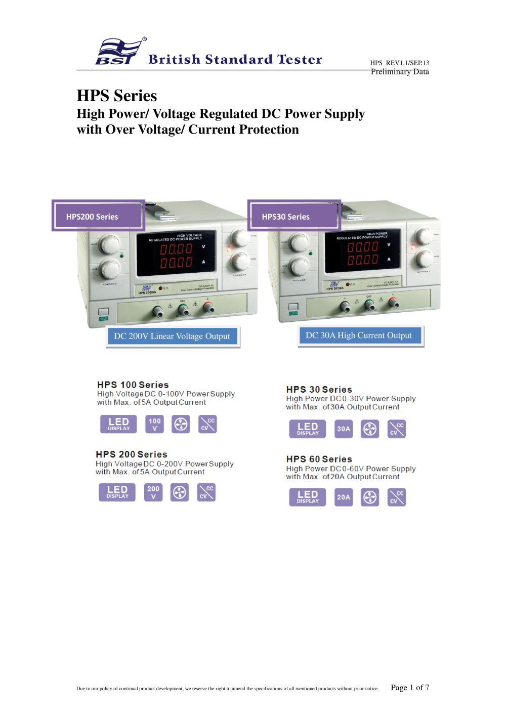 Hps Series High Power Voltage Regulated Dc Supply With Over Current Protection 1 7 Pages