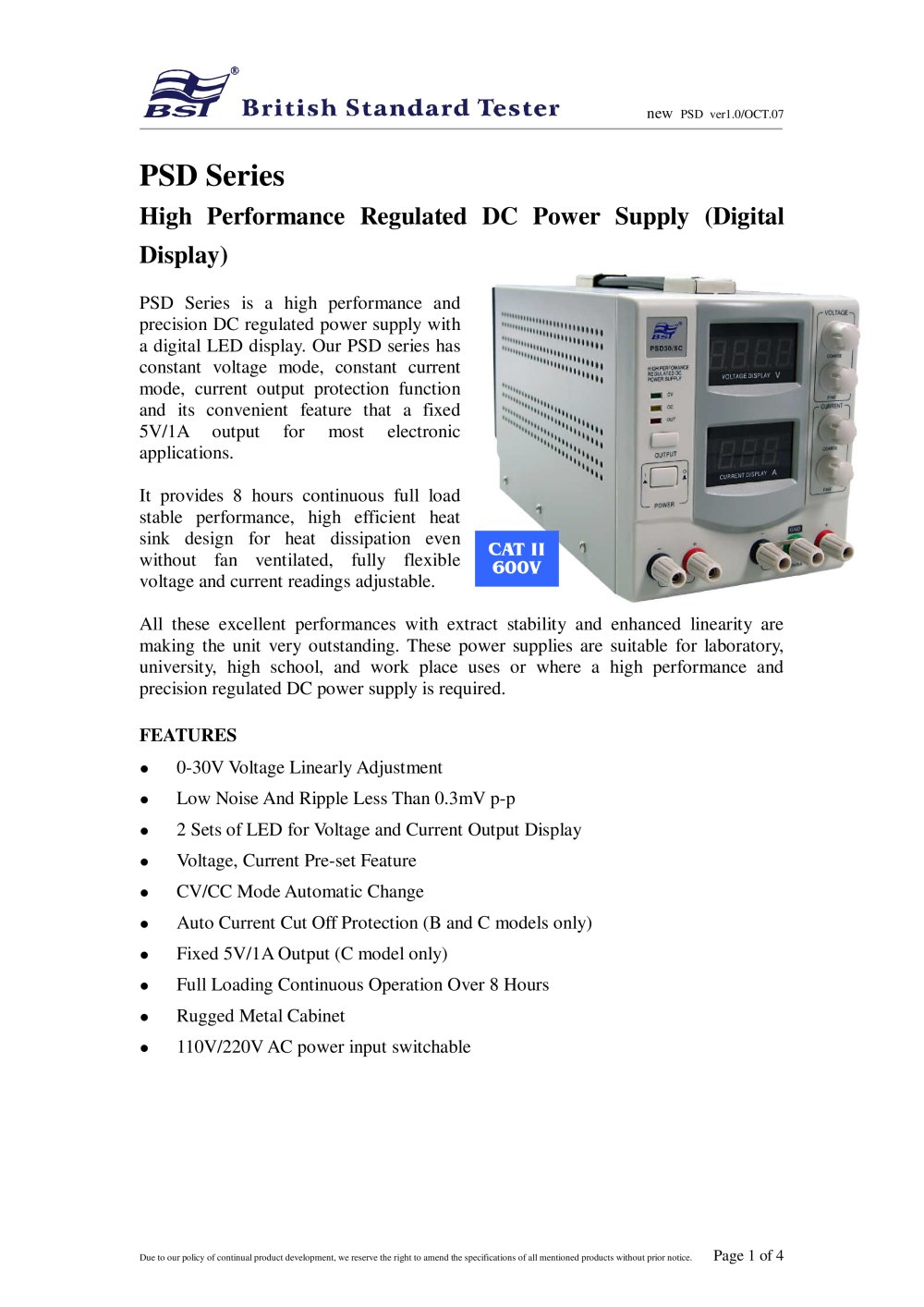 Psd Series High Performance Regulated Dc Power Supply Digital Display 1 4 Pages