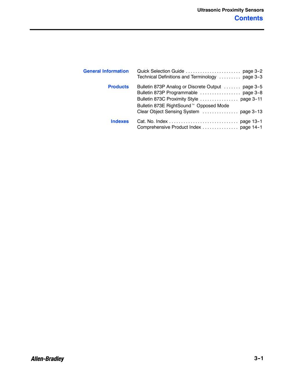 Ultrasonic Sensors - Allen Bradley - PDF Catalogue | Technical ...