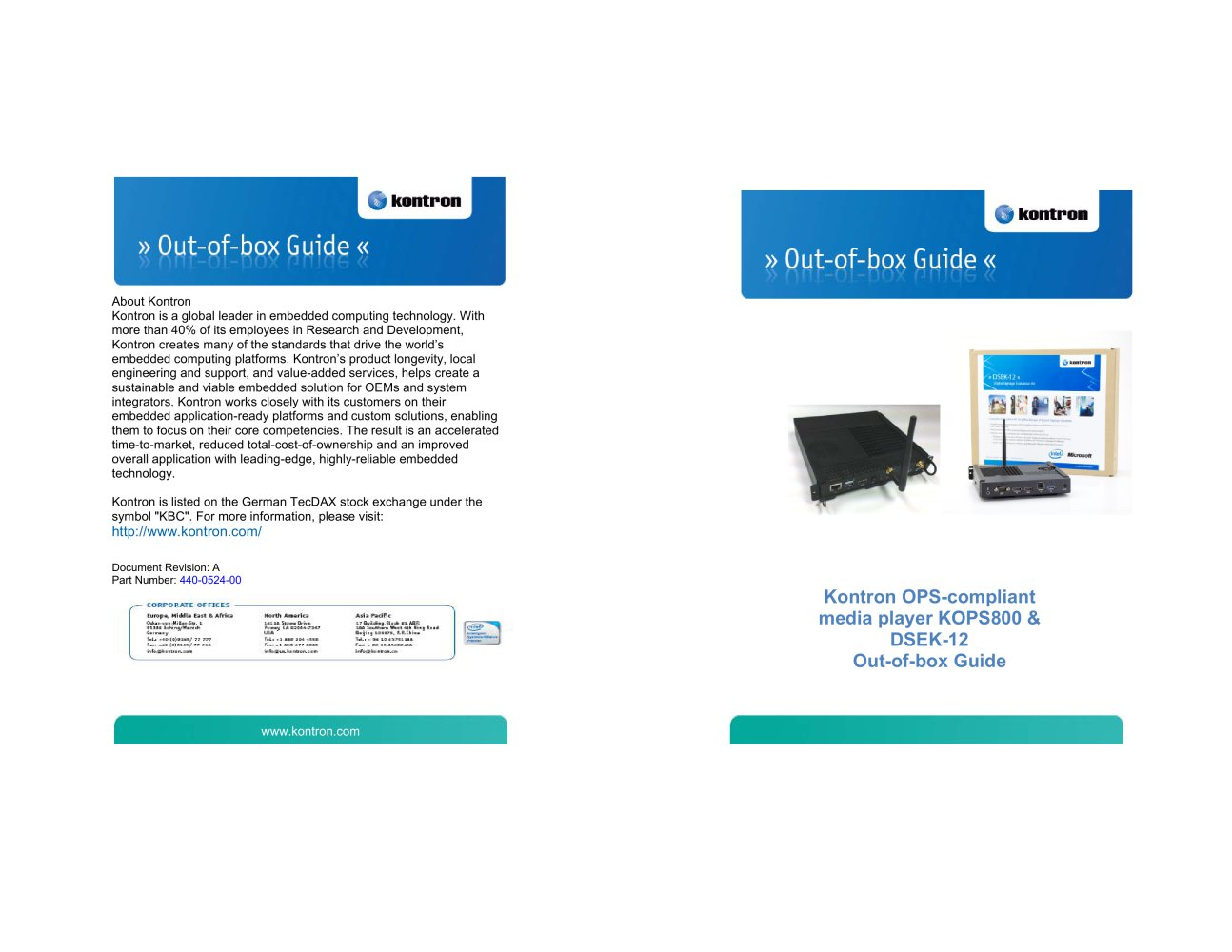 Kontron OPS-compliant media player KOPS800 & DSEK-12 Out-of-box Guide - 1 /  6 Pages