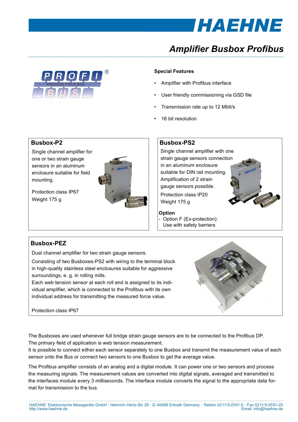 Busbox P2 For Field Mounting Haehne Pdf Catalogue Technical Strain Gauge Wiring 1 4 Pages