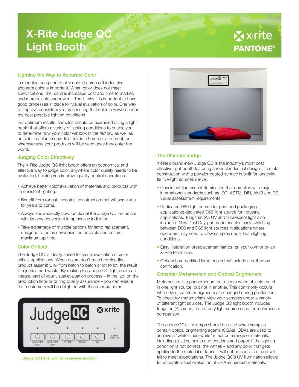 Judge QC - X-Rite Inc. - PDF Catalogue | Technical Documentation ...
