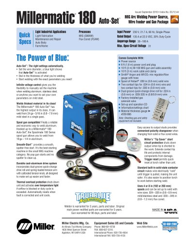 millermatic 180 auto set miller electric pdf catalogue rh pdf directindustry com millermatic 180 manual miller diversion 180 manual pdf