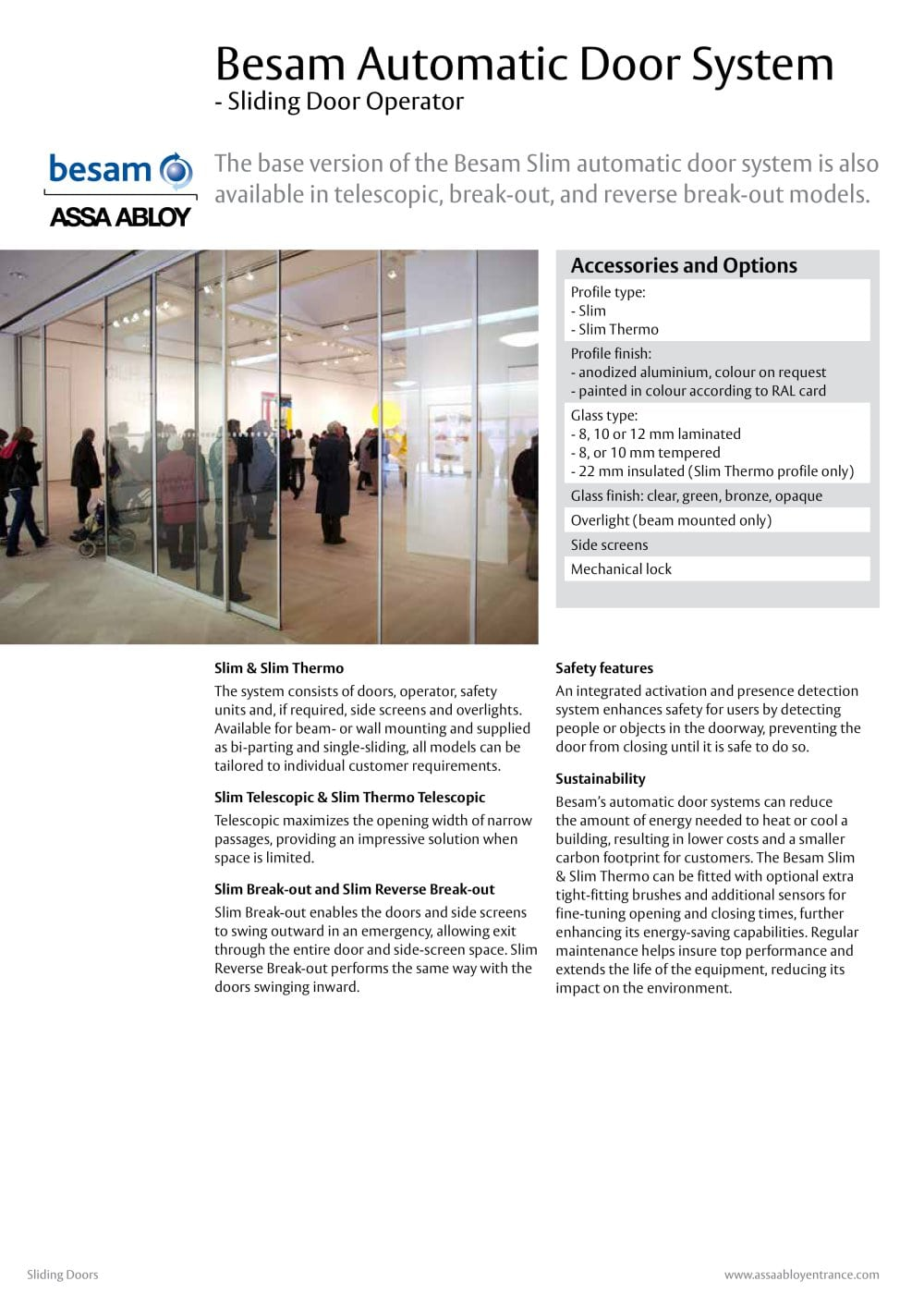 Besam sl500 all glass sliding door system with semi transparent option - Besam Automatic Door System 1 6 Pages