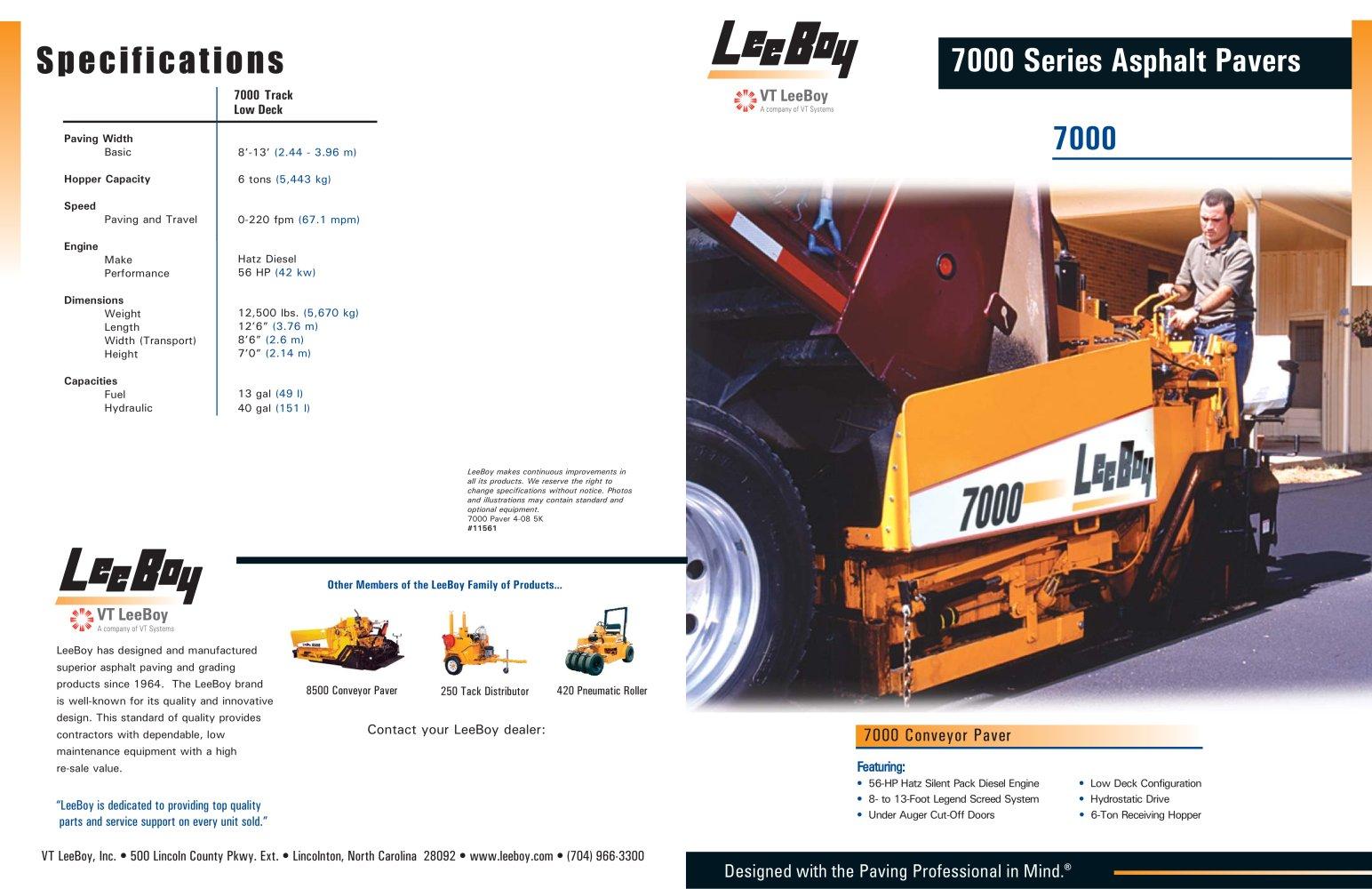 7000 conveyor track paver vt leeboy inc pdf catalogue rh pdf directindustry com Barber Greene 879A Paver 8515 Lee Boy Paver