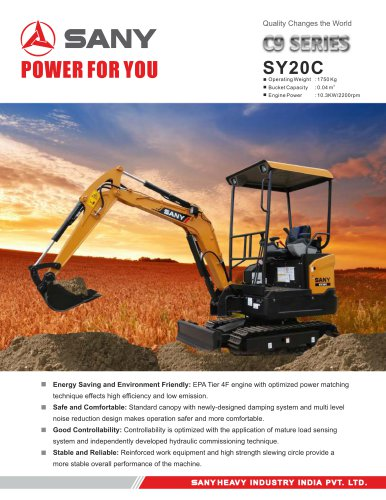 SY20C SY20C SY20C SY20C SY20C SANY SY20C Mini Excavator - See more