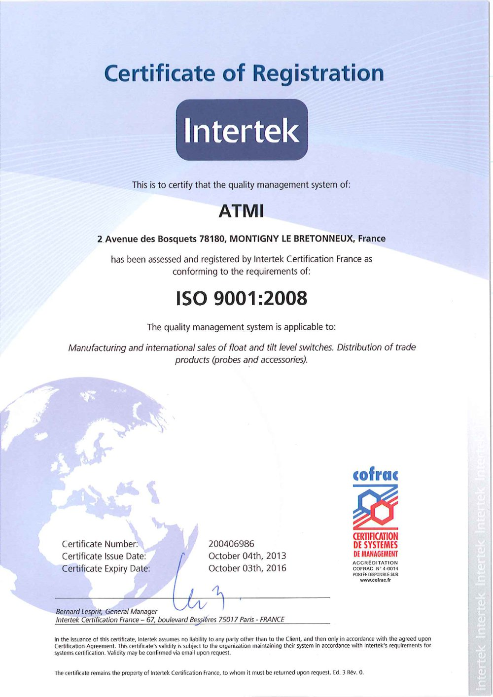 Certificate Iso 9001 2008 Atmi Pdf Catalogue Technical