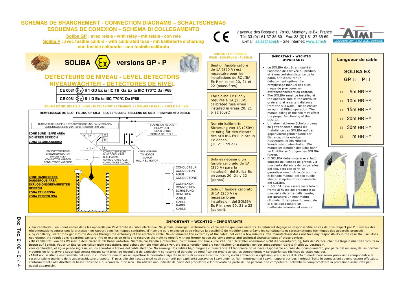 Wiring diagrams - SOLIBA Ex ATEX certificate - 1 / 2 Pages