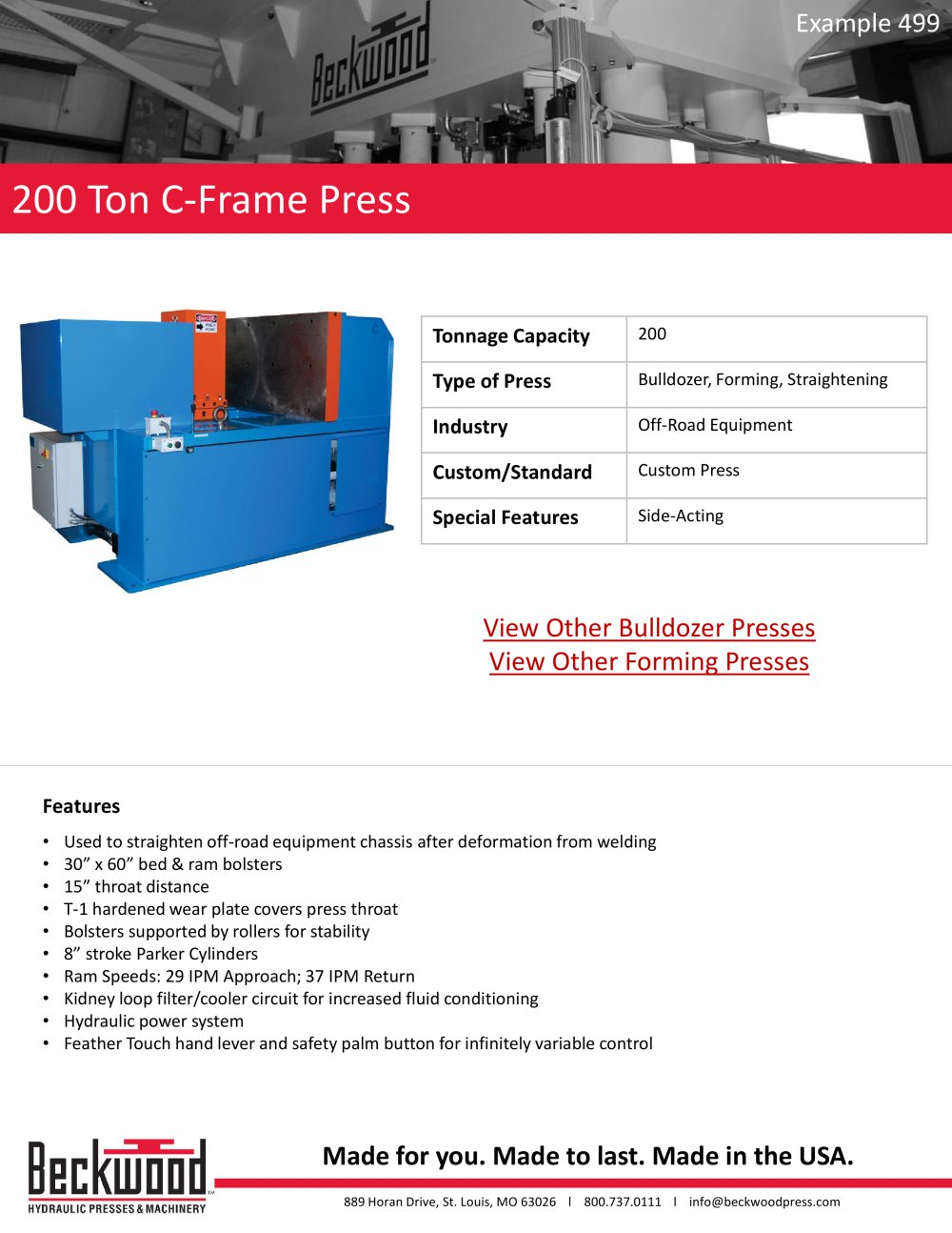 200 Ton C - Frame Press - Beckwood Press - PDF Catalogue | Technical ...