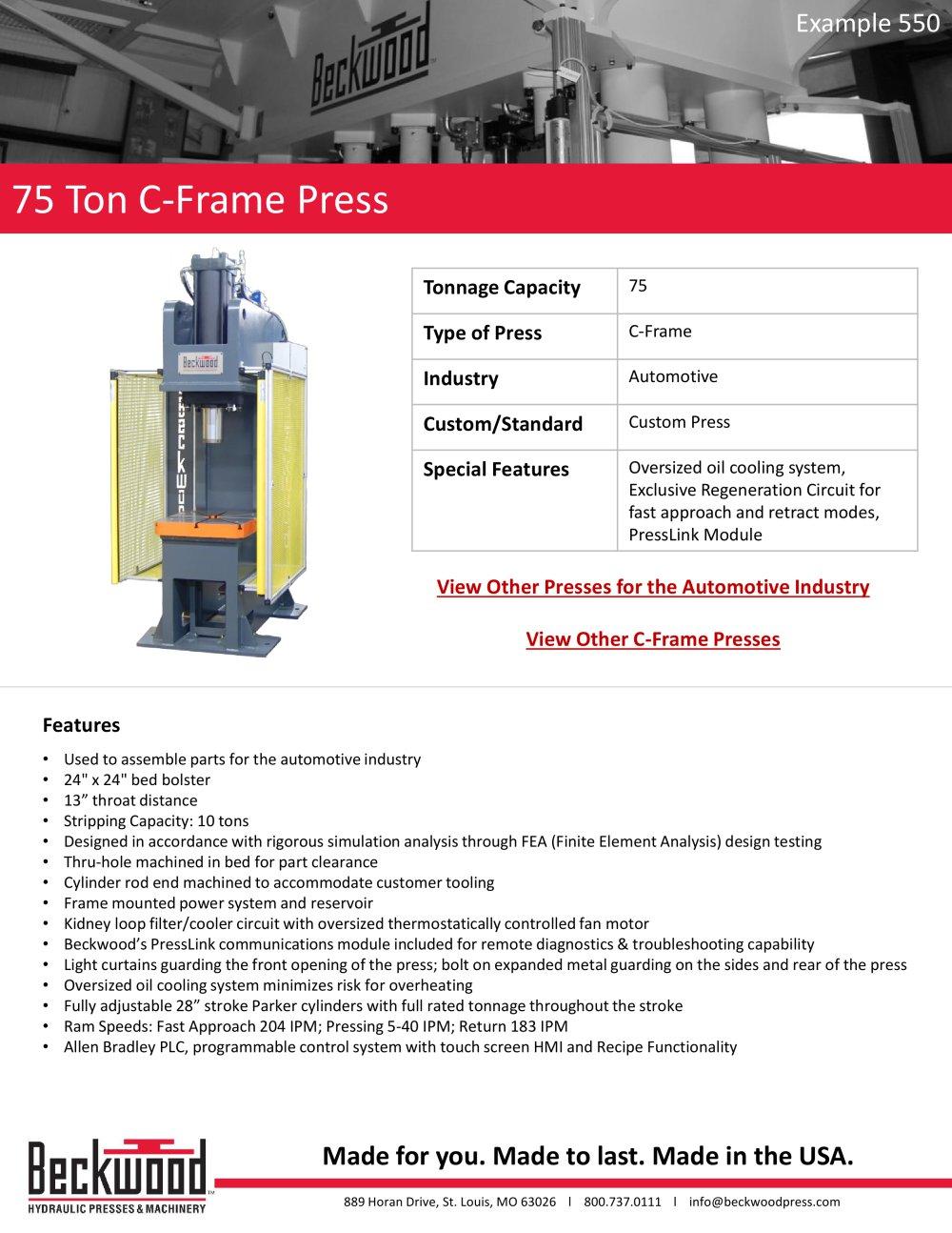 75 Ton C - Frame Press - Beckwood Press - PDF Catalogue | Technical ...