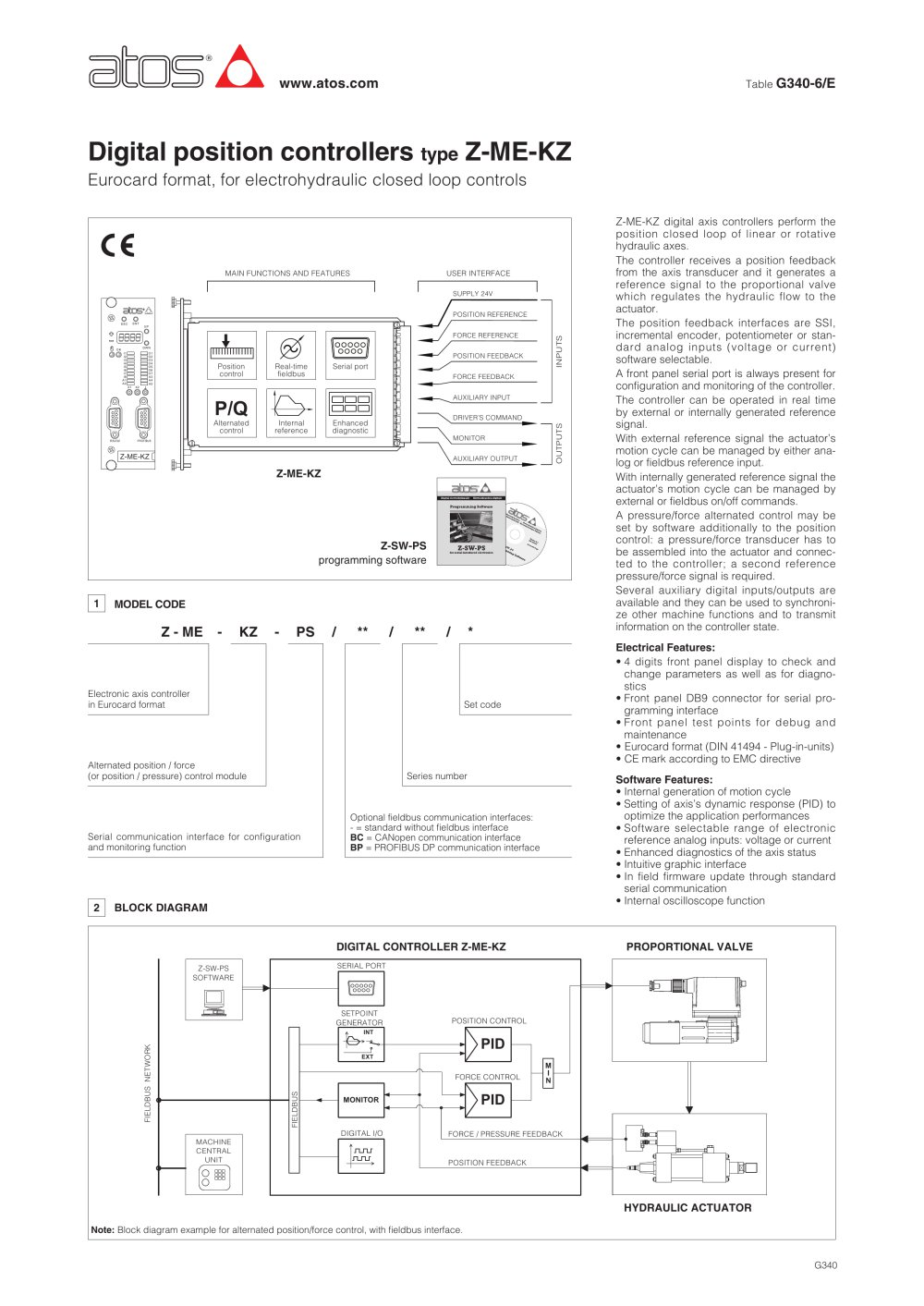 Axis Motions Controllers Type Z Me Kz Atos Pdf Catalogue P Controller Block Diagram 1 8 Pages