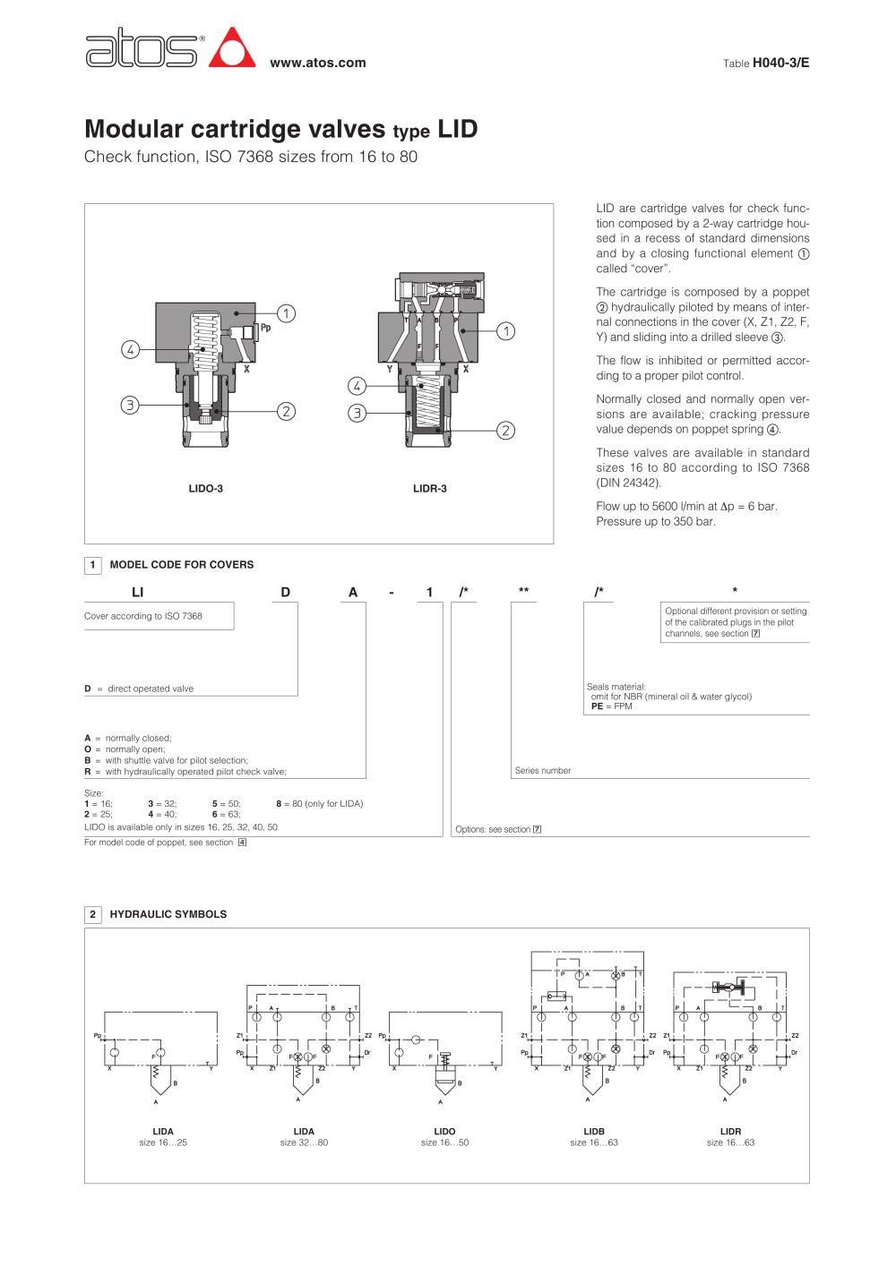 Modular cartridge valves type lid atos pdf catalogue technical modular cartridge valves type lid 1 4 pages biocorpaavc Choice Image