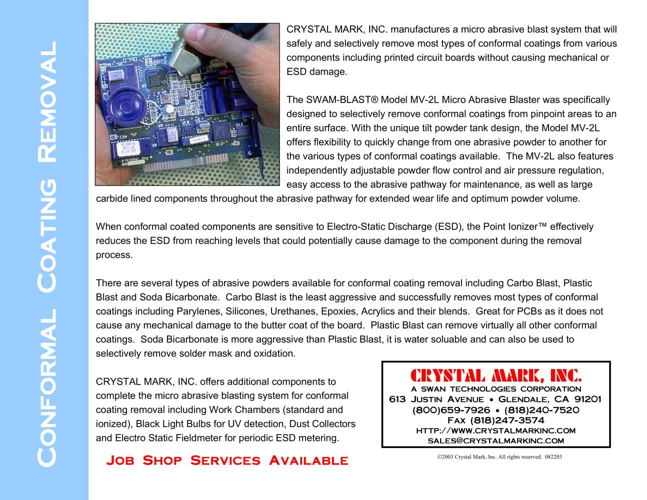 Conformal Coating Removal Crystal Mark Pdf Catalogue Technical What Happens When You Unscrew A Light Bulb In Series Circuit 1 Pages