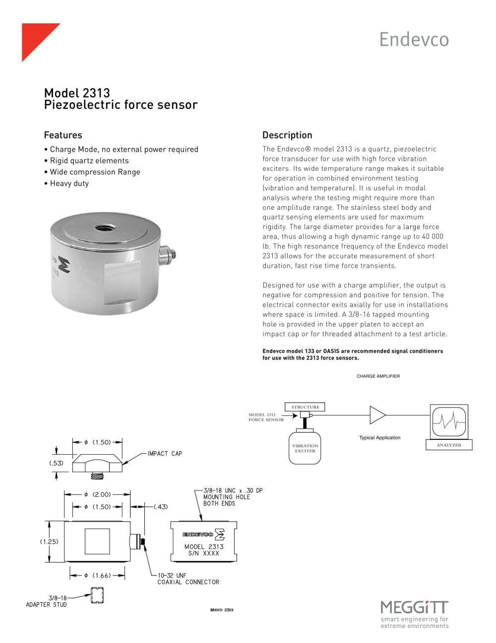 Endevco Model 2313 Piezoelectric Force Transducer - 1 / 2 Pages