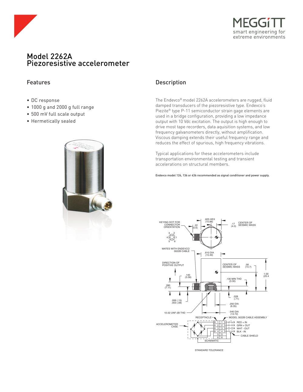 Meggitt Sensing Systems Endevco Model 2262a Piezoresistive Accelerometer Schematic Accelerometers 1 2 Pages