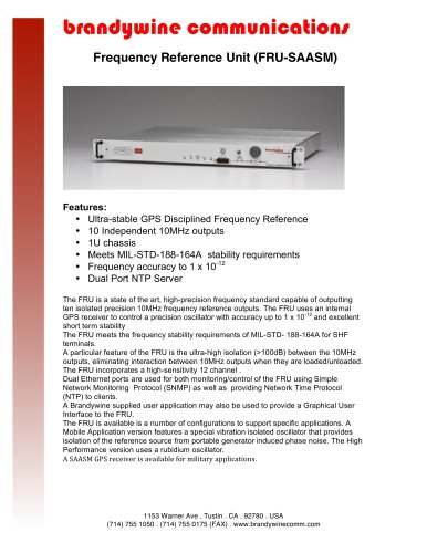 Frequency Reference Unit - Brandywine Communications - PDF Catalogs